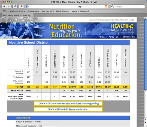 Health-e Meal Planner - Database Driven Nutritional Information for School Lunches 3